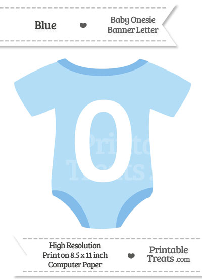 Blue Baby Onesie Shaped Banner Number 0 from PrintableTreats.com