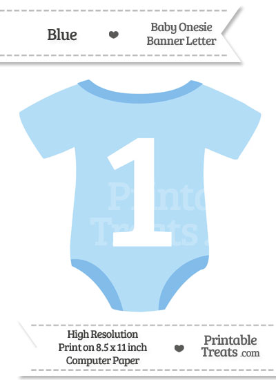 Blue Baby Onesie Shaped Banner Number 1 from PrintableTreats.com