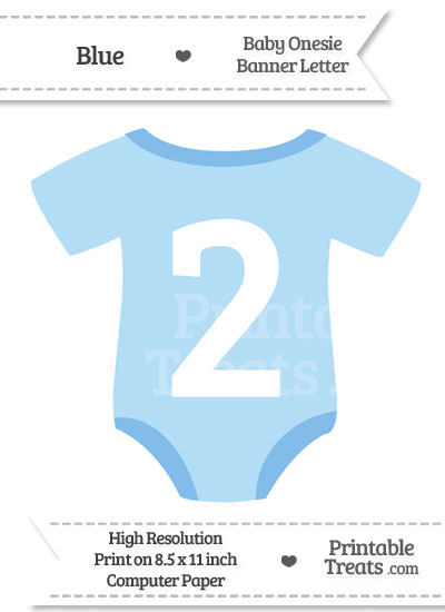 Blue Baby Onesie Shaped Banner Number 2 from PrintableTreats.com
