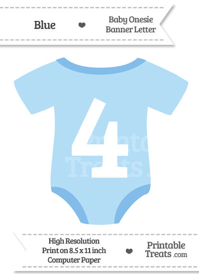 Blue Baby Onesie Shaped Banner Number 4 from PrintableTreats.com