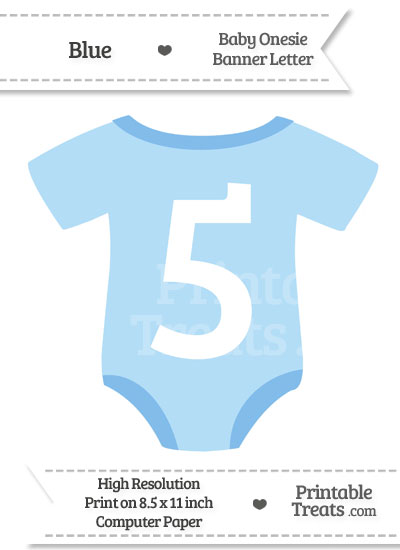 Blue Baby Onesie Shaped Banner Number 5 from PrintableTreats.com