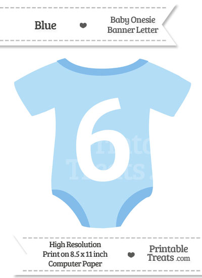 Blue Baby Onesie Shaped Banner Number 6 from PrintableTreats.com