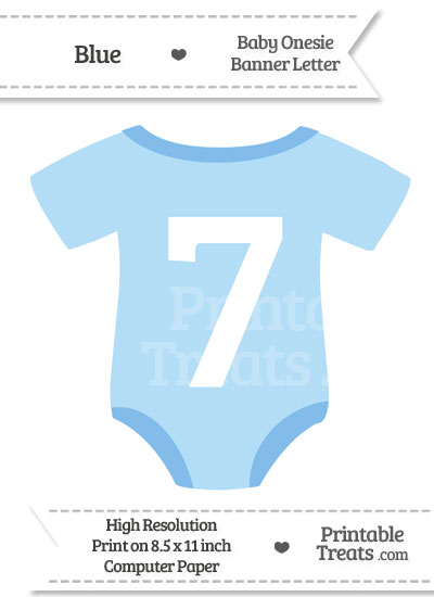 Blue Baby Onesie Shaped Banner Number 7 from PrintableTreats.com