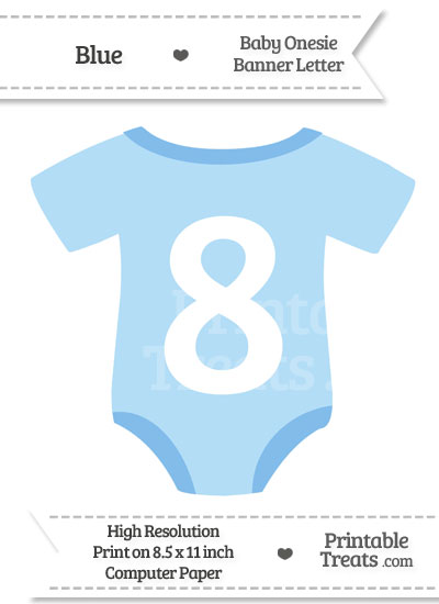 Blue Baby Onesie Shaped Banner Number 8 from PrintableTreats.com
