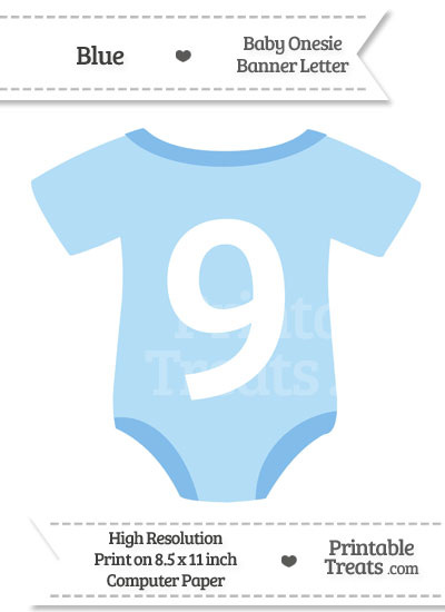 Blue Baby Onesie Shaped Banner Number 9 from PrintableTreats.com