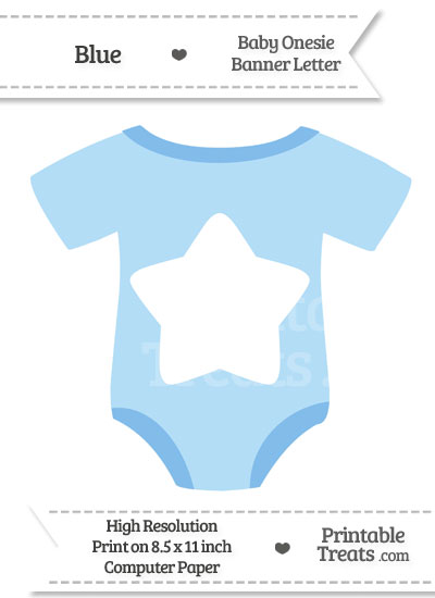 Blue Baby Onesie Shaped Banner Star End from PrintableTreats.com