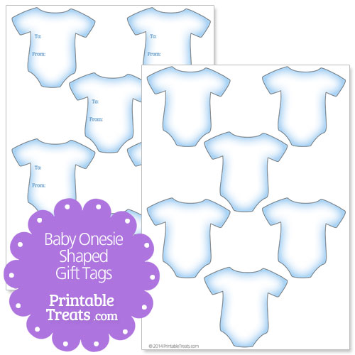 blue baby onesie shaped gift tags