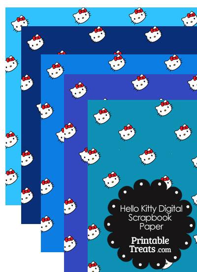 Blue Background Hello Kitty Digital Scrapbook Paper from PrintableTreats.com