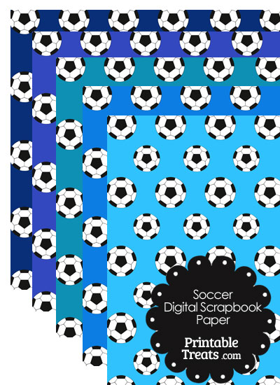 Blue Background Soccer Digital Scrapbook Paper from PrintableTreats.com