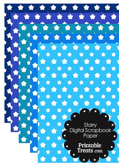 Blue Background Star Digital Scrapbook Paper from PrintableTreats.com