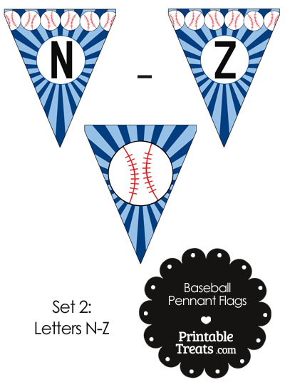 Blue Baseball Party Flag Letters N-Z from PrintableTreats.com