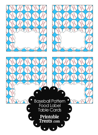 Blue Baseball Pattern Food Labels from PrintableTreats.com
