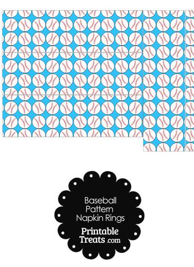 Blue Baseball Pattern Napkin Rings from PrintableTreats.com