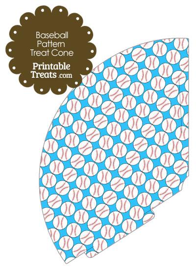 Blue Baseball Pattern Treat Cone from PrintableTreats.com