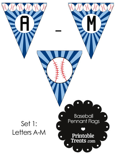 Blue Baseball Pennant Banner Flag Letters A-M from PrintableTreats.com
