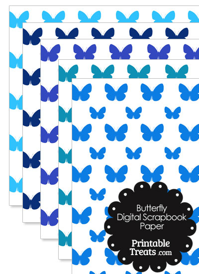 Blue Butterfly Digital Scrapbook Paper from PrintableTreats.com