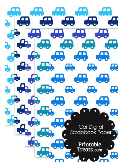 Blue Car Digital Scrapbook Paper from PrintableTreats.com