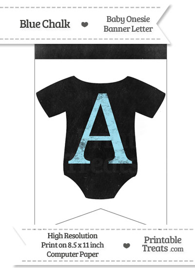 Blue Chalk Baby Onesie Bunting Banner Letter A from PrintableTreats.com