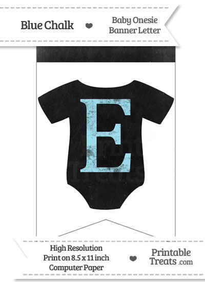 Blue Chalk Baby Onesie Bunting Banner Letter E from PrintableTreats.com