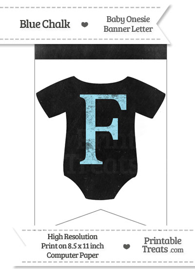 Blue Chalk Baby Onesie Bunting Banner Letter F from PrintableTreats.com