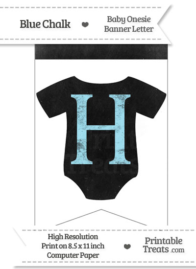 Blue Chalk Baby Onesie Bunting Banner Letter H from PrintableTreats.com