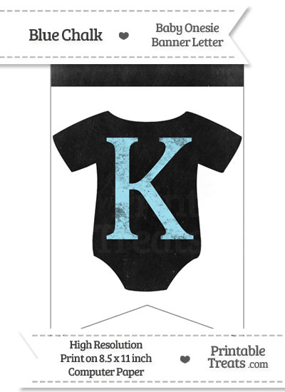 Blue Chalk Baby Onesie Bunting Banner Letter K from PrintableTreats.com