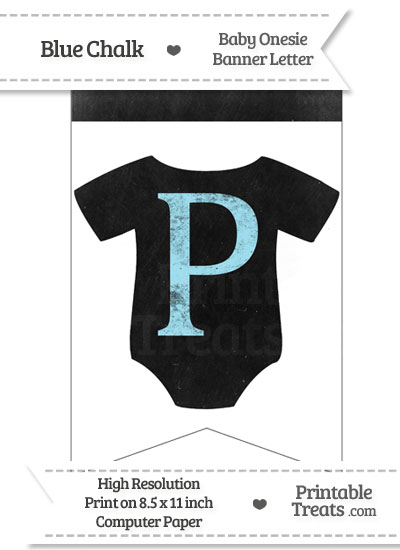 Blue Chalk Baby Onesie Bunting Banner Letter P from PrintableTreats.com