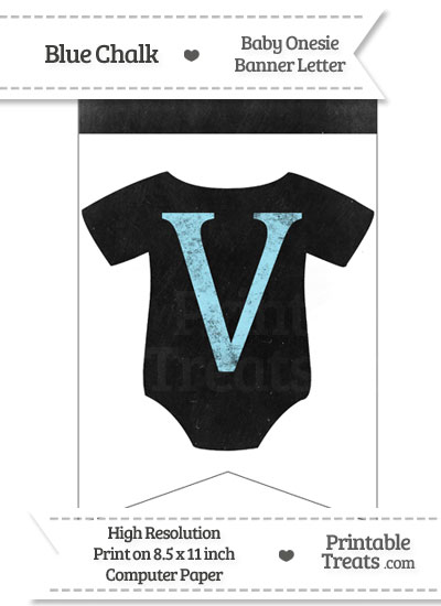 Blue Chalk Baby Onesie Bunting Banner Letter V from PrintableTreats.com