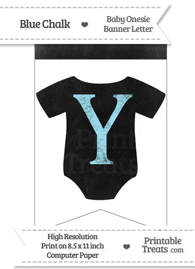 Blue Chalk Baby Onesie Bunting Banner Letter Y from PrintableTreats.com
