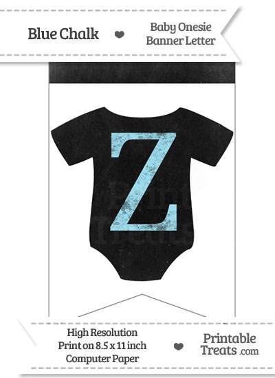 Blue Chalk Baby Onesie Bunting Banner Letter Z from PrintableTreats.com
