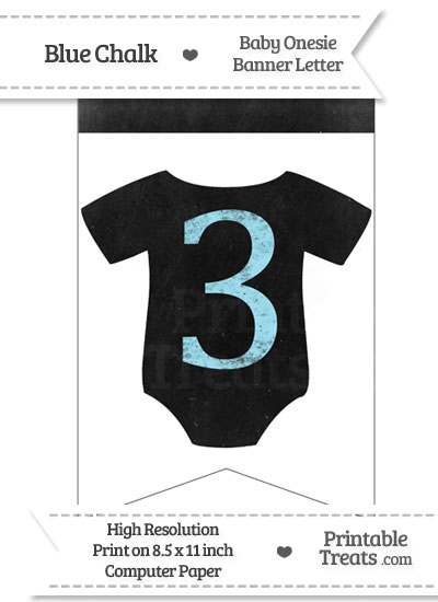 Blue Chalk Baby Onesie Bunting Banner Number 3 from PrintableTreats.com