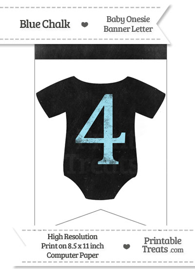Blue Chalk Baby Onesie Bunting Banner Number 4 from PrintableTreats.com