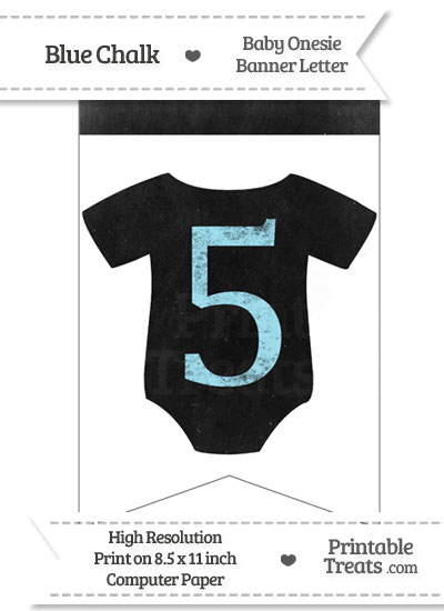 Blue Chalk Baby Onesie Bunting Banner Number 5 from PrintableTreats.com