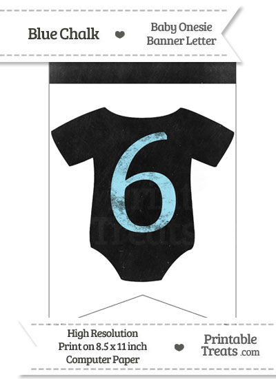 Blue Chalk Baby Onesie Bunting Banner Number 6 from PrintableTreats.com