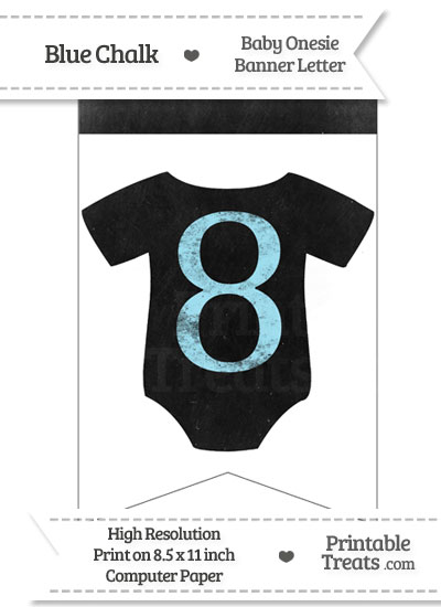Blue Chalk Baby Onesie Bunting Banner Number 8 from PrintableTreats.com