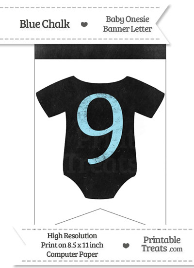 Blue Chalk Baby Onesie Bunting Banner Number 9 from PrintableTreats.com
