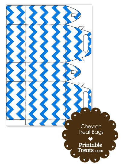 Blue Chevron Treat Bags to Print from PrintableTreats.com