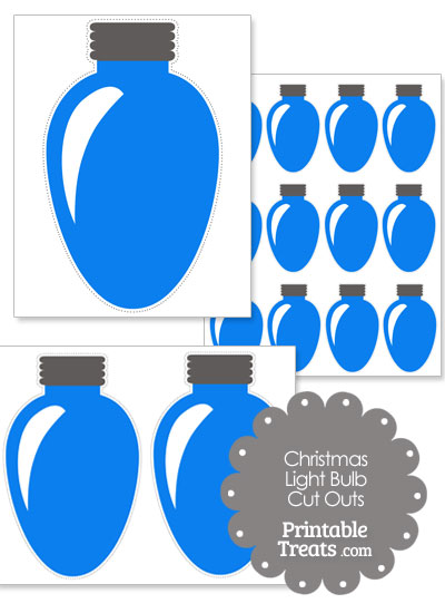 Blue Christmas Light Bulb Cut Outs from PrintableTreats.com