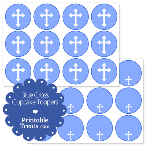 blue cross cupcake toppers