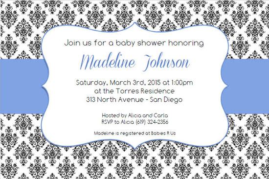 blue damask baby shower invitation