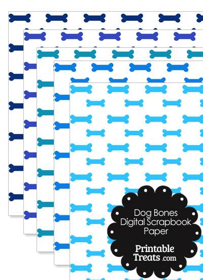 Blue Dog Bone Digital Scrapbook Paper from PrintableTreats.com