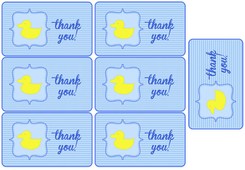 blue duck baby shower party favor tags