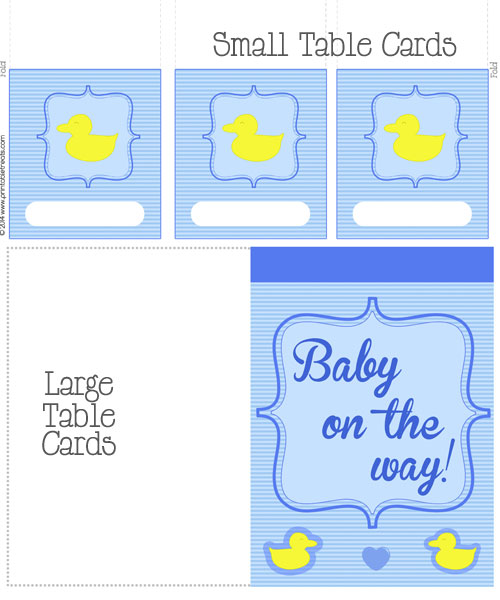 blue duck baby shower table cards