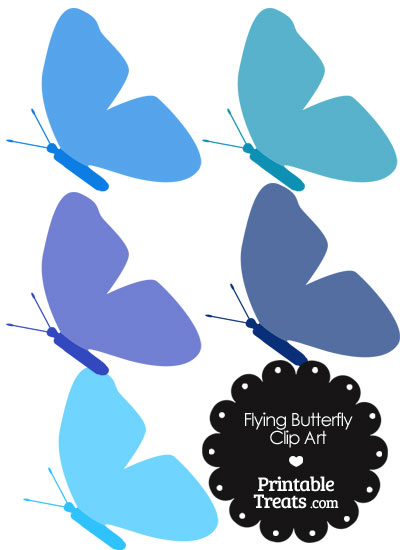 Blue Flying Butterfly Clipart from PrintableTreats.com