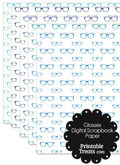 Blue Glasses Digital Scrapbook Paper from PrintableTreats.com