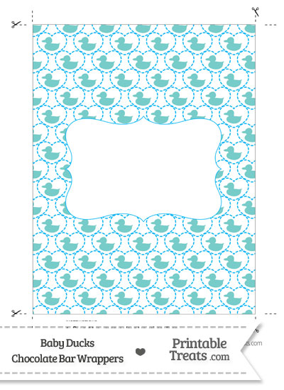 Blue Green Baby Ducks Chocolate Bar Wrappers from PrintableTreats.com