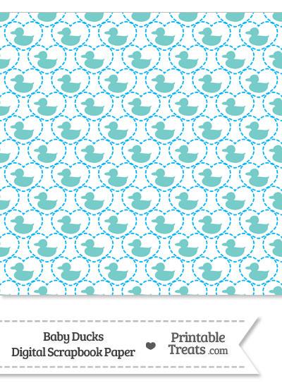 Blue Green Baby Ducks Digital Scrapbook Paper from PrintableTreats.com