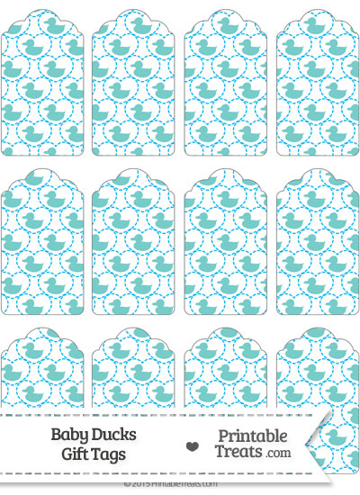 Blue Green Baby Ducks Gift Tags from PrintableTreats.com