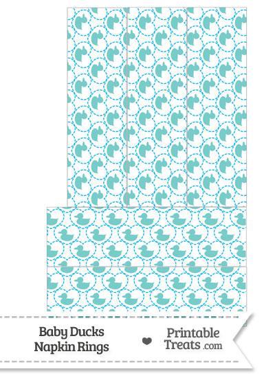 Blue Green Baby Ducks Napkin Rings from PrintableTreats.com