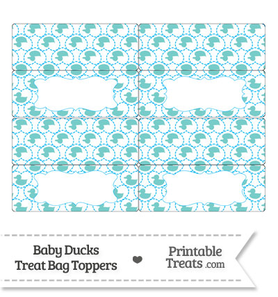 Blue Green Baby Ducks Treat Bag Toppers from PrintableTreats.com
